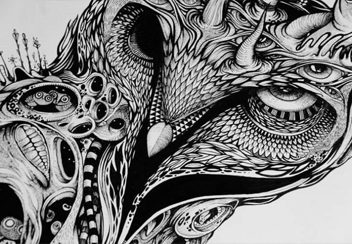 Dzo olivier explorations of the unconscious feather of me for Cool detailed drawings