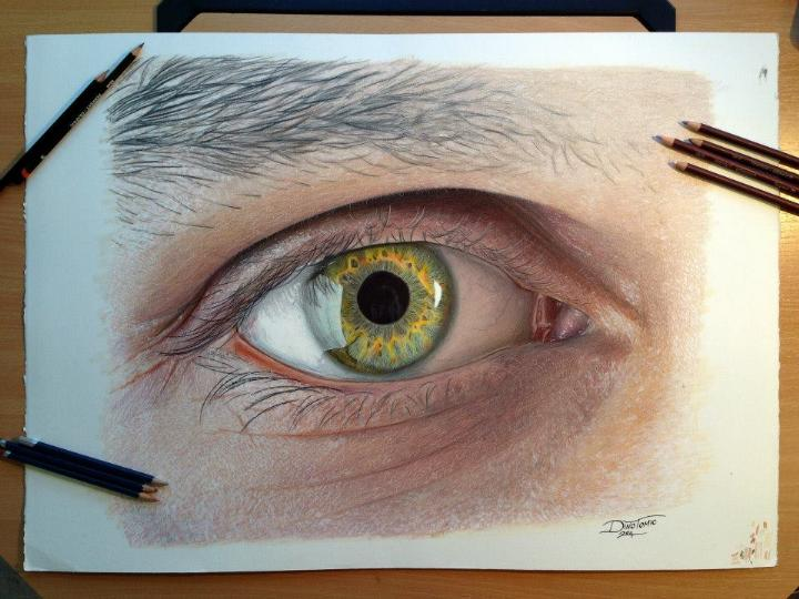 Dino Tomic - Eye Color Pencil Drawing Study