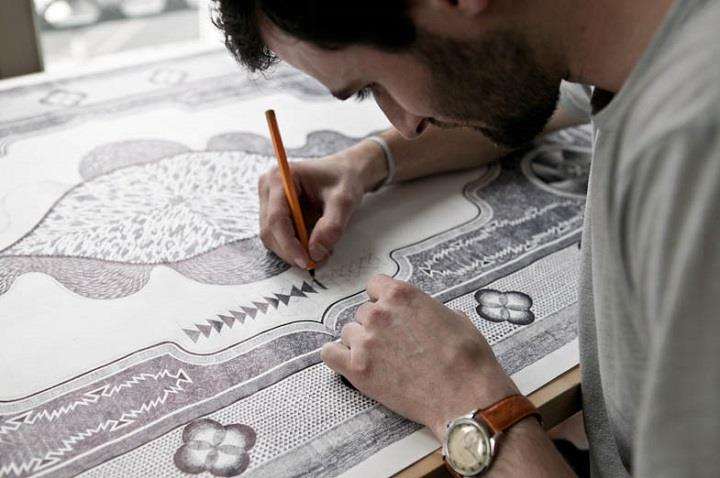 Jonathan Bréchignac - carpet drawing process