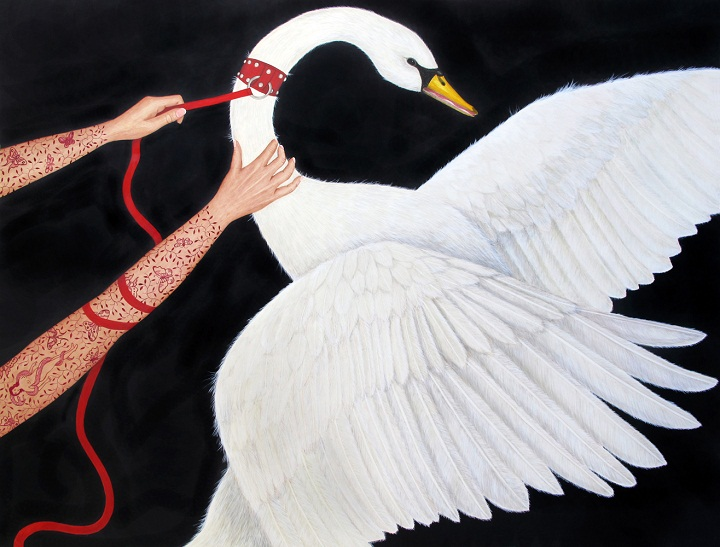 Susan Jamision - a caught swan