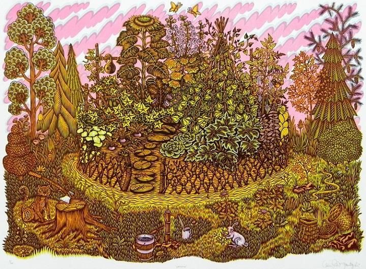 Tugboat Printshop - garden woodcut
