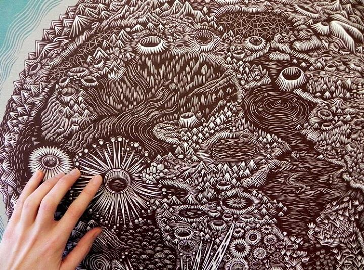 Tugboat Printshop - moon woodcut closeup